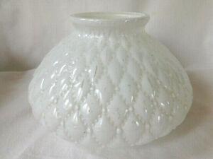 """Vintage Hurricane Lamp Glass Globe, Diamond Quilt, 4 3/4"""" High 6 3/4"""" Fitter"""