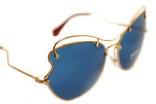 7adcf92fbd5a MIU MIU SCENIQUE 56RS 7OE-1V1 Ladies Women Round BUTTERFLY Sunglasses GOLD  BLUE