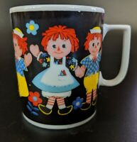 Vintage Raggedy Ann and Andy Glass Cup Porcelain Mug Black Playtime Japan R6941