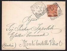 STORIA POSTALE Regno 1906 Lettera da Perugia a Monte Castello Vibio (FILP)