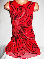 GIRLS 60s RED ORIENTAL EMBROIDERED SPARKLING SEQUIN DANCE PARTY DRESS age 5-6