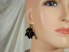 Neat-O Black Glass Dangle Earrings Vintage 1950s XX Pretty  463H