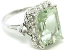 9ct Green Amethyst & Diamond 9ct 9K Solid Gold Ring - SZ L/6.0 - 30 Days Refunds