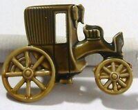 broche bijou vintage base couleur argent émail beige kaki voiture tacot * 4164