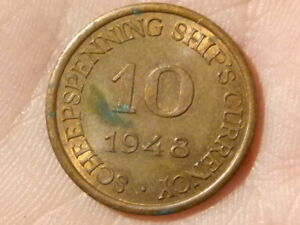 1948 NASM Schepspenning Ship's Currency 10 Coin HOLLAND AMERICA LINE #P74