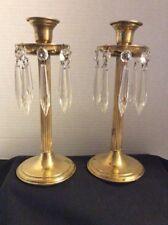 Vintage Pair of Vtg Brass Candle Holders/Candelabra With Hanging Crystal Prisms