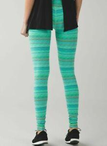Lululemon Size 4 Wunder Under Pant Space Dye Neon Green Dragonfly Legging Tight