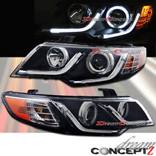 LED STRIPE 6000K CCFL PROJECTOR HEADLIGHTS FOR KIA FORTE & KOUP BLACK STYLE PAIR