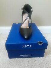 APT 9 Labor Black Women's Pumps Stiletto Heels Ankle Strap Dress Shoes