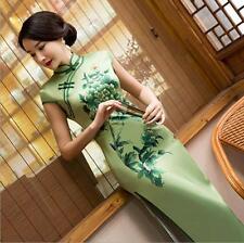 green chinese  women's silk/satin Evening long Dress Ball Cheongsam S-XXL