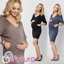 Ladies Maternity Tunic With Pockets V Neck Party Mini Dress Plus Sizes 8-18 FM13
