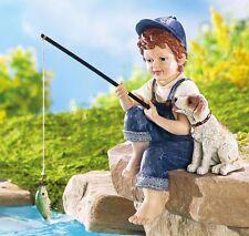 Little Boy Fishing & Puppy Dog Garden Statue Rock Sitter Yard Outdoor Decor