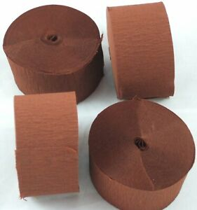 4 Mid Brown Large Crepe paper EACH streamer 26 metres x 45mm by clikkabox