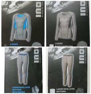 INOC Ladies Base Layer Bottoms Tops Merino Wool Grey Blue Black Winter Sports