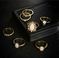 7 Pcs/Set Gold Punk Vintage Gem Rings Ethnic Hippie Stone Jewelry Set