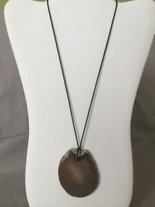 Quartz Geode Pendant Leather Necklace One-Of-A-Kind Handmade