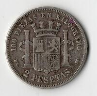 PAS COURANTE MONNAIE DE 2 PESETAS ARGENT D'ESPAGNE ( SPAIN ) DE 1870 @ SILVER
