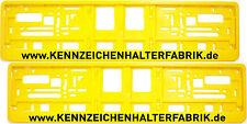 2 Stück Kennzeichenhalter GELB mit WUNSCHTEXT Werbung Nummernschildhalter Satz