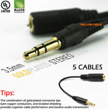 5pcs 6 inch 3.5mm Extension Audio Cable Male to Female 1/8 Headphone Aux Cord