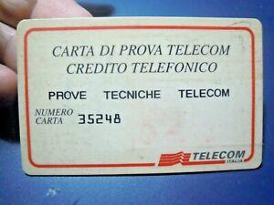 CARTA DI PROVA TELECOM CREDITO TELEFONICO - RARA -