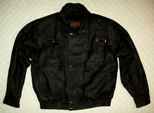 lucky leather inc black mens sz l genuine leather motorcycle biker jacket buckle