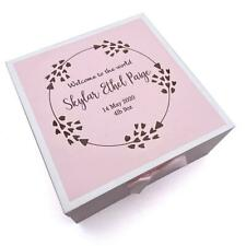 Personalised Baby Girl Pink Wooden Memories Keepsake Box Heart Wreath CG1309P-8