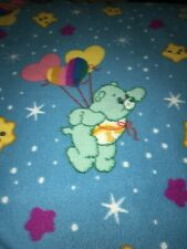 Vintage Care Bears Satin Trimmed Fleece Blanket Pre Owned Nice Rainbows Balloons