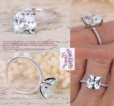 8mm Cushion Blue Aquamarine Engagement Wedding Diamond Ring Solid 14K White Gold