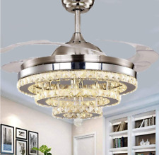 """42"""" Crystal Silver Invisible Ceiling Fans Led Light Remote Control Chandeliers"""