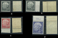 BRD Heuss I, 189, 192, 195 postfrisch; geprüft bzw. Rand; bitte auswaehlen #e078