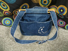 Bag Lady Faded Blue Denim Shoulder/Tote Bag w/Adjustable Strap & Wood Trim