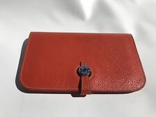 Hermes Orange Poppy Leather Wallet Dogon Due Coin Change Purse Made In France