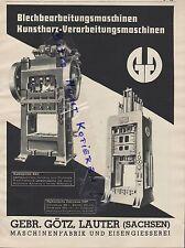 LAUTER, Werbung 1939, Gebrüder Götz Maschinen-Fabrik Eisengiesserei Blech-Bearbe