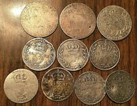 LOT OF 10 UK SILVER COINS