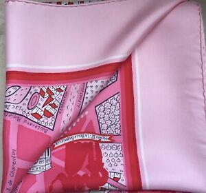 HERMES Silk Scarf 'Les Amoureux De Paris' 90cm x 88cm in Pink