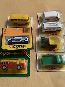 8 X VINTAGE 1970/80s CORGI MODELS IN BLISTER PACKS: BP, TRANSIT, BRITISH GAS BUS