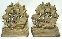 Vintage Sailboat Nautical Clipper Ship Metal Cast Iron Bookends Pair Door Stop