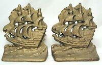 Vintage Cast Iron Clipper Ship Sailboat Bookends Nautical Pair Metal Door Stop