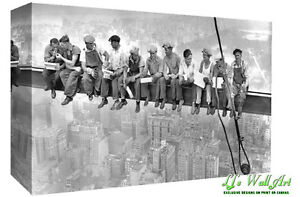 Lunch on top New York Empire State Building Construction Canvas Wall Art Print
