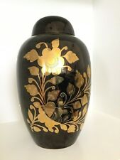 Black and Gold Large Cremation Urn for Adult, Ashes, Funeral, Memorial, Urn 10""