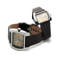 NEW-DIESEL 2,TWO PIECE HIS,HER SET BROWN LEATHER BAND+SILVER DIAL DZ1360+BOX