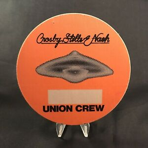 Crosby Stills Nash Union Crew Backstage Pass Otto Unused Brand New Vintage 1980s