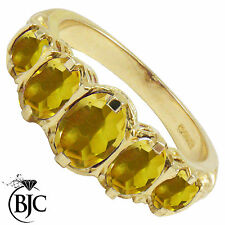 Citrine 9 Carat Oval Yellow Gold Fine Gemstone Rings