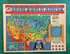 Vintage Kids Educational Jigsaw Puzzle United States of America Map 100 pieces