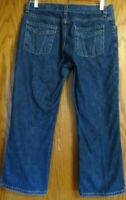 Eddie Bauer women's size 8R denim blue jean flat front capris pockets Small FLAW