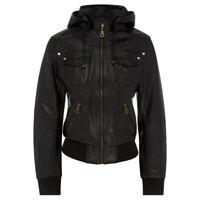 Women Genuine Leather Bomber Jacket - Black Hooded - Womens Lambskin Biker coat