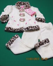 Young Hearts Infant Baby Girl 2 PC Set White Leopard Kitty Jacket Pants 18 M NEW