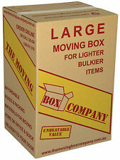 50 LARGE TEA CHEST MOVING BOXES ONLY $3.80 EA 110L CARDBOARD PACKING REMOVALIST