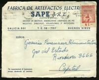 ARGENTINA  1960 FRON COVER WITH FRANKING REVENUE STAMP