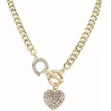 Fashion Charm Jewelry Crystal Heart Pendant Gold Chain Statement Bib Necklace ID